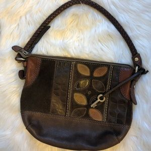 Fossil vintage leather braided hobo bag🗝🗝🗝